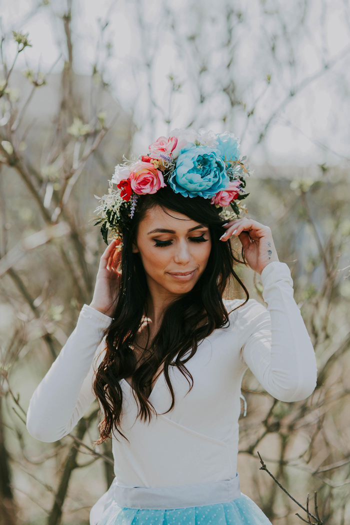06-Boho Turquoise Flower Crown