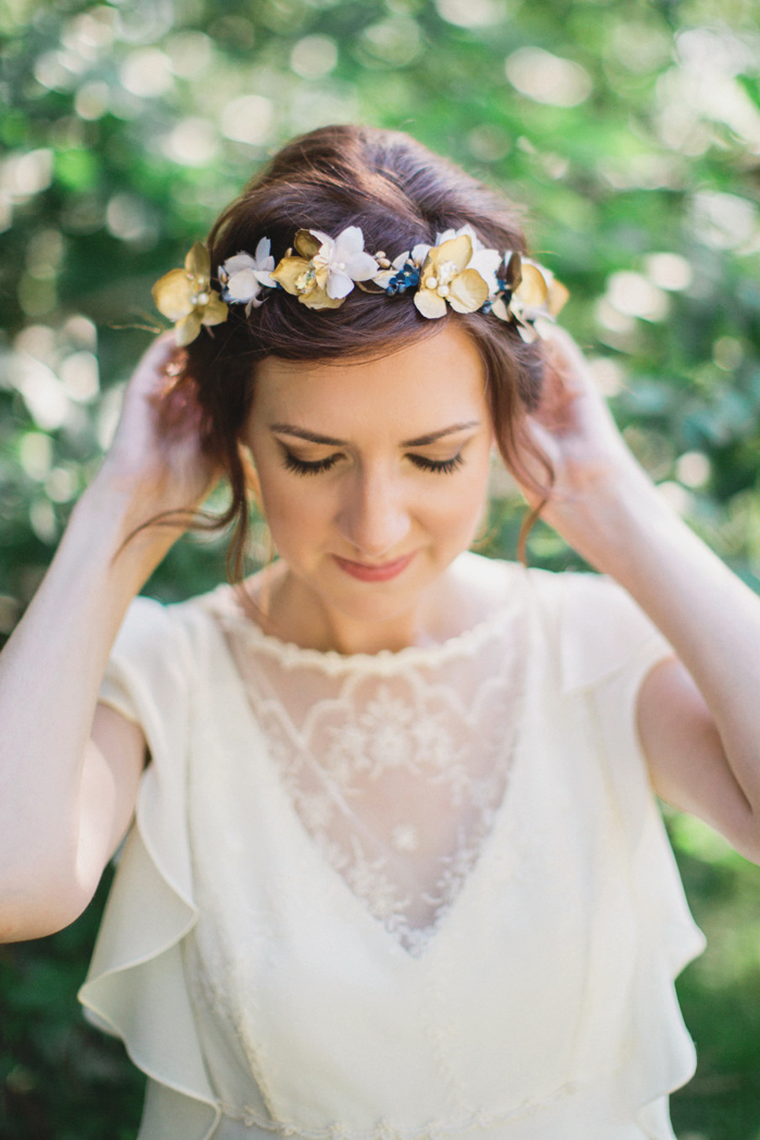 09-Navy Gold Flower Crown
