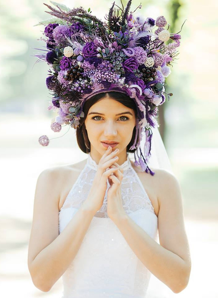 10-Purple Statement Wedding Crown