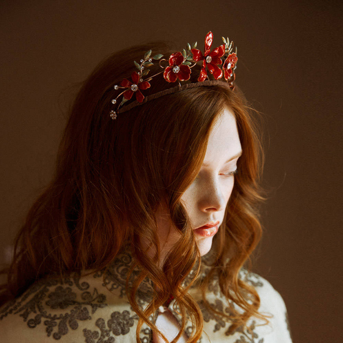 12-Red Floral Wedding Tiara
