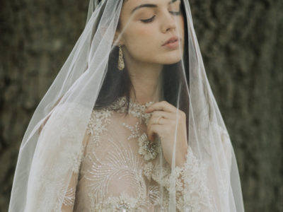 Golden Chantilly Lace Drop Veil