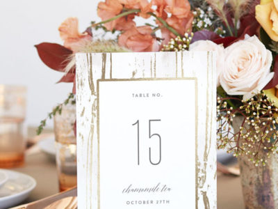 Gilded Woodgrain Table Numbers (10)