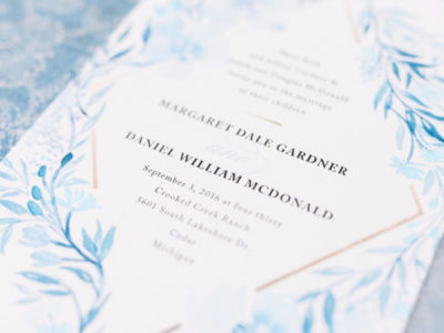 Poetic Blue Invitation (100)