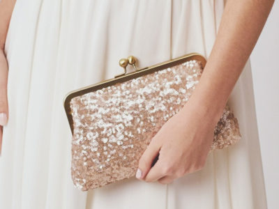 Rose Gold Sequin Clutch
