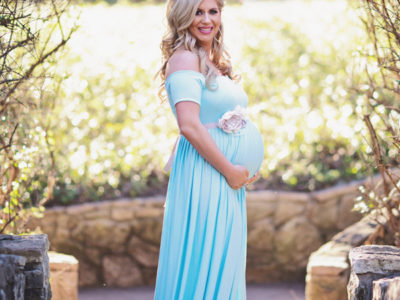 Blue Off-the-shoulder Maternity Dress