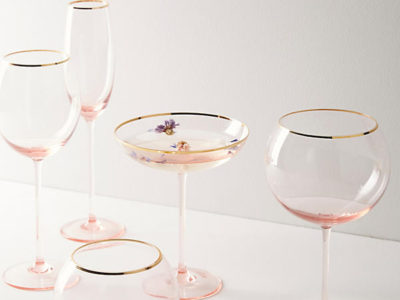 Gilded Rim Red Wine Glass