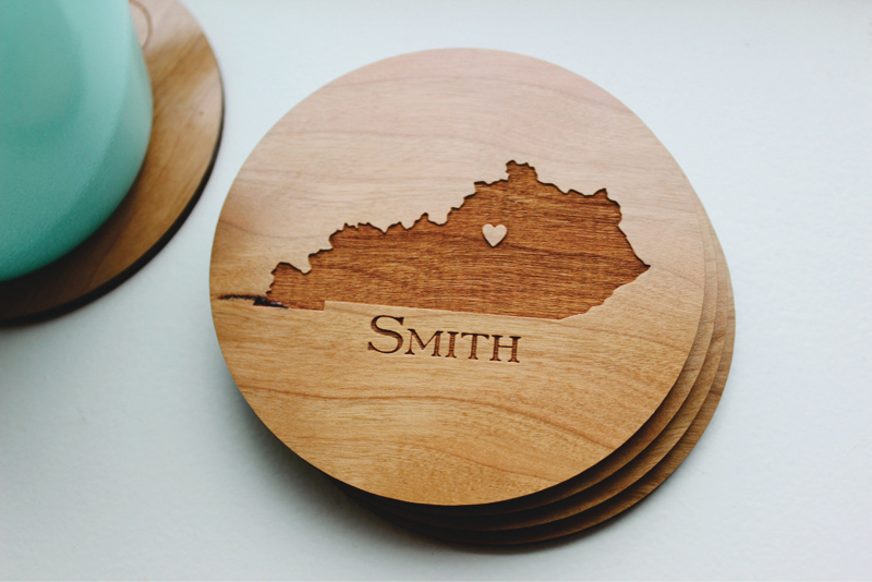20-Personalized Wood Coaster Set of 4