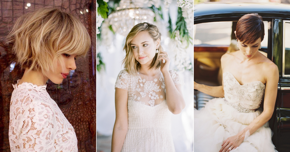 Hair Styles For Short Hair Brides: 6 Beautiful Wedding Dress Styles For Brides With Short