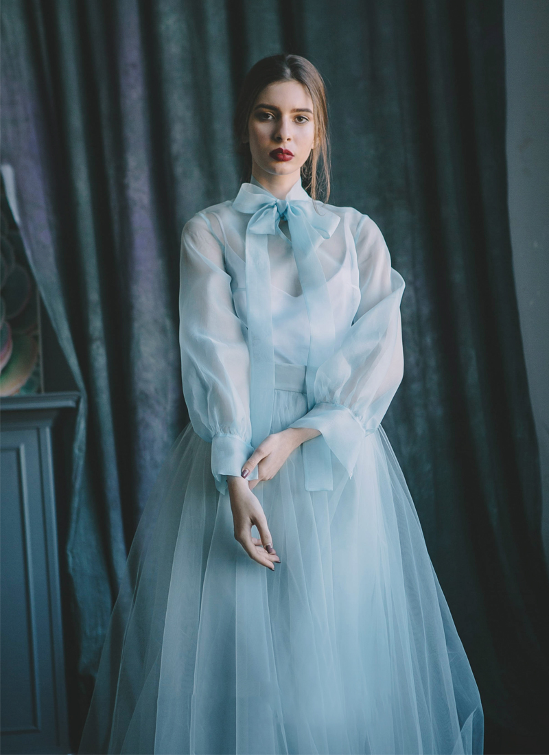 07-Blue Silk Organza Dress