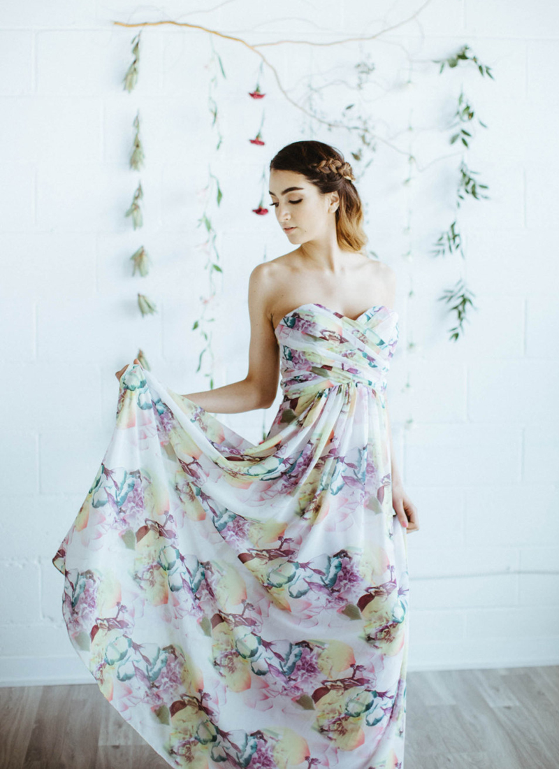 15-Floral Print Strapless Bridesmaid Dress