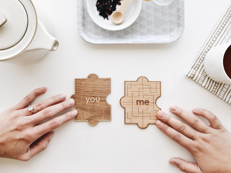 01-You & Me Wood Puzzle Shape Card