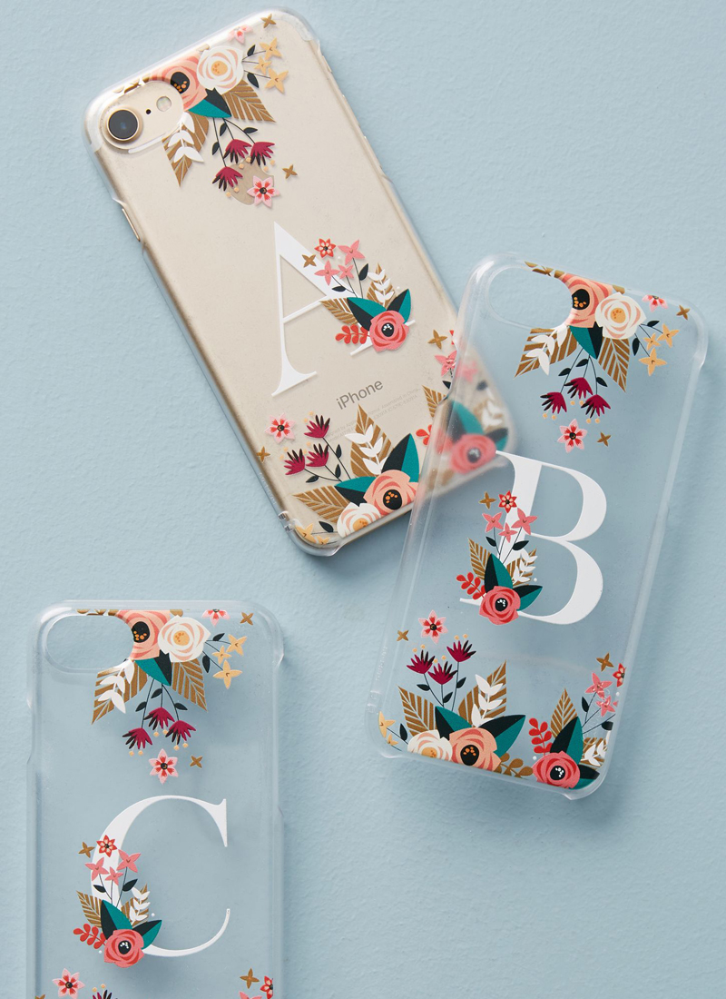 02-Floral Monogram iPhone Case
