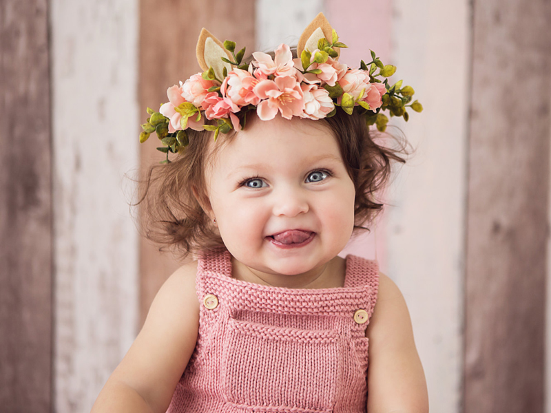 04-Baby Deer Silk Flower Headband