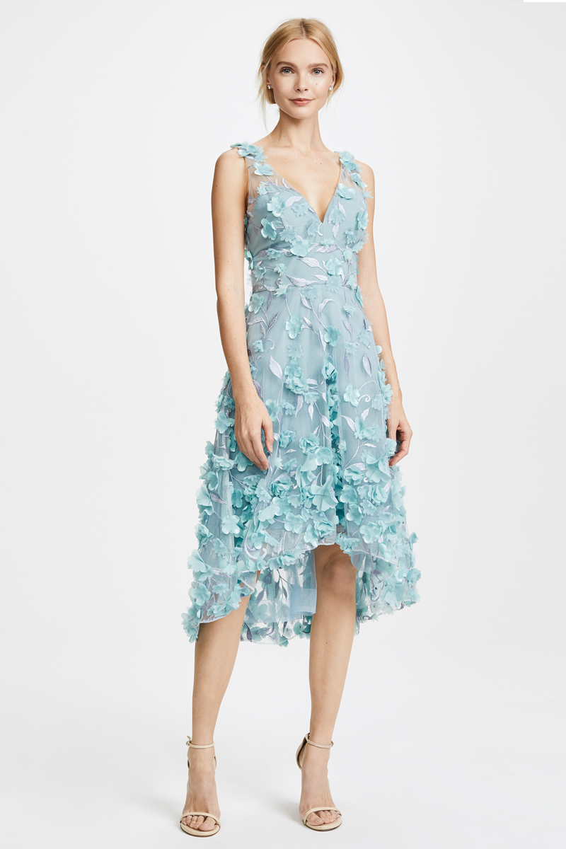 13-Marchesa Notte Blue High Low Cocktail Dress