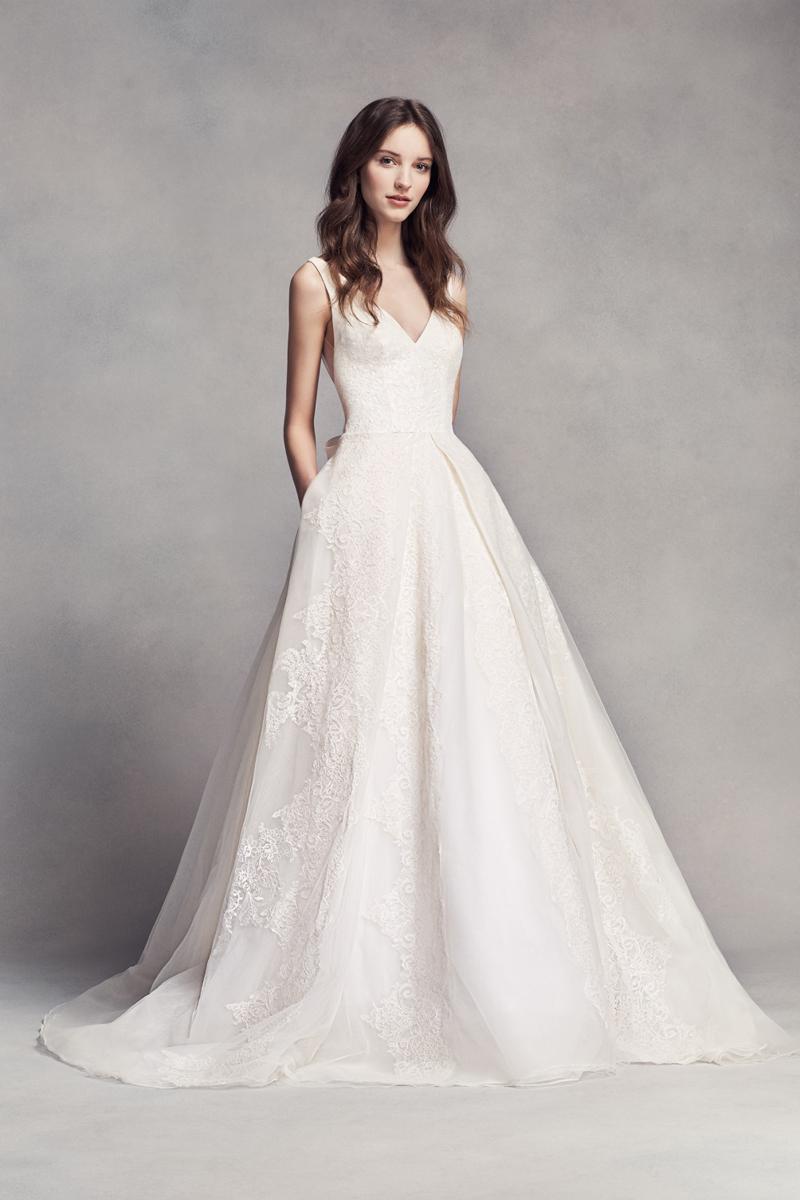 15-White by Vera Wang Pleated V-Neck Wedding Dress