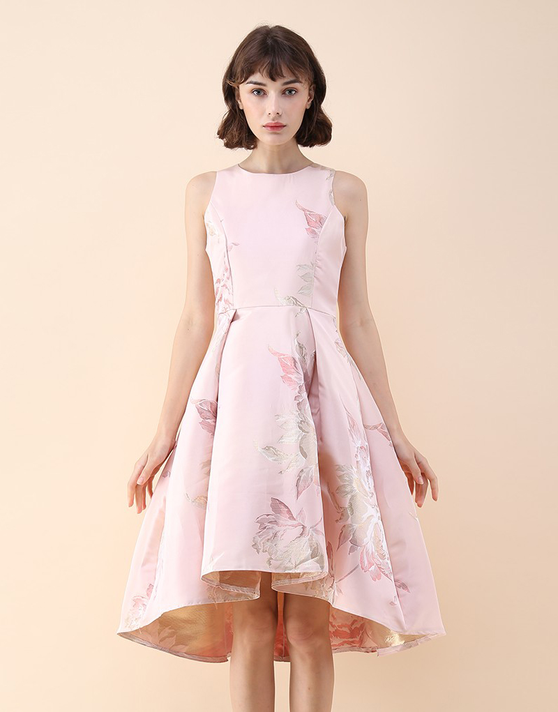 16-Pink Peony Waterfall Dress