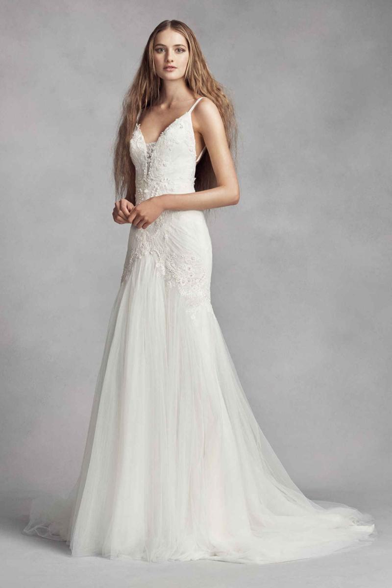18-White by Vera Wang Plunging Sheath Wedding Dress
