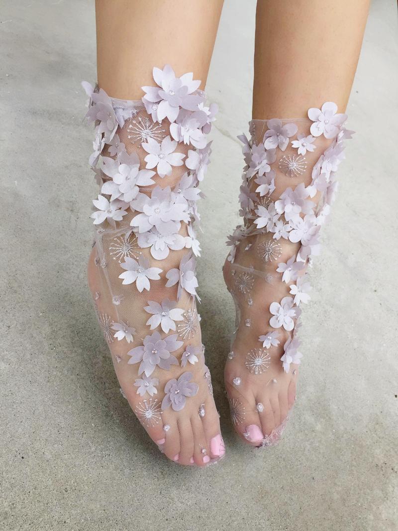 04-Flowery Tulle Socks