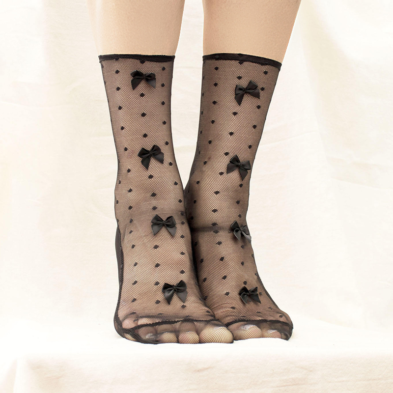 10-Black Mesh Socks with Bows