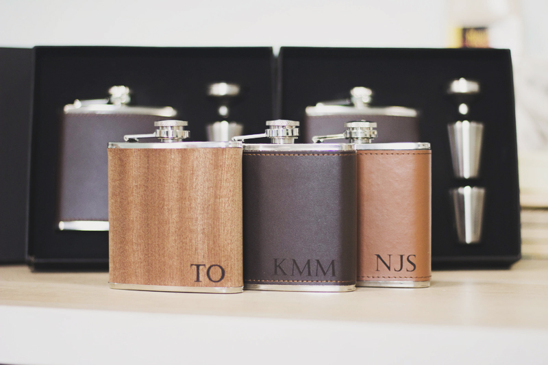 10-Personalized Leather Flask Set