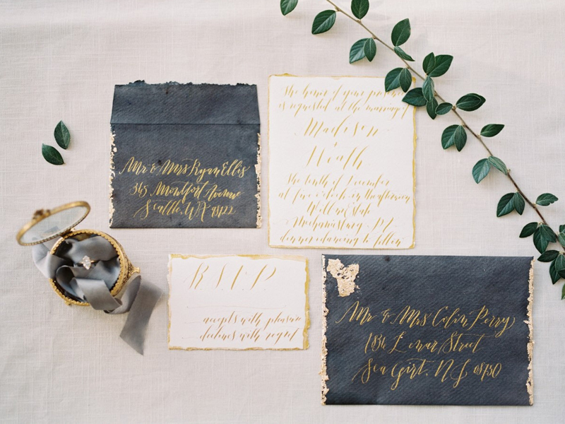 16-Custom Calligraphy Wedding Invitation Suite