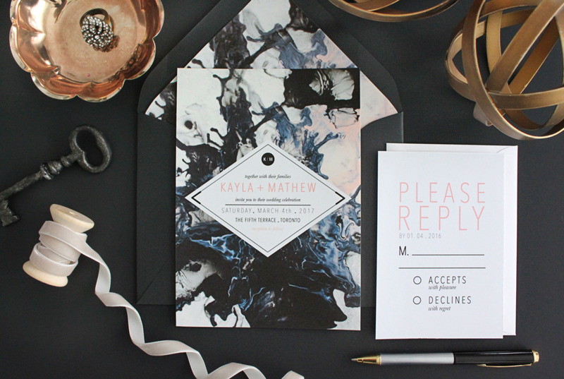 18-Marbleized Wedding Invitations