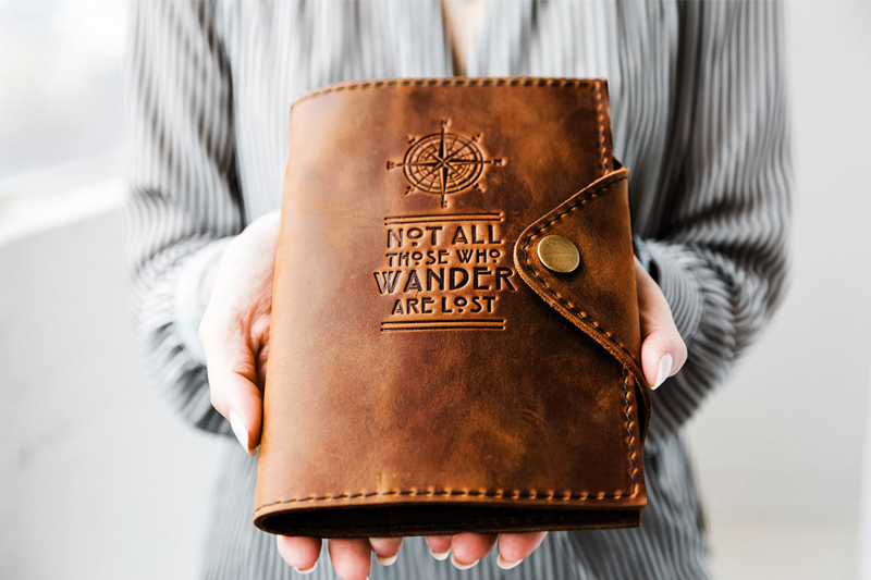 20-Refillable Leather Snap Journal