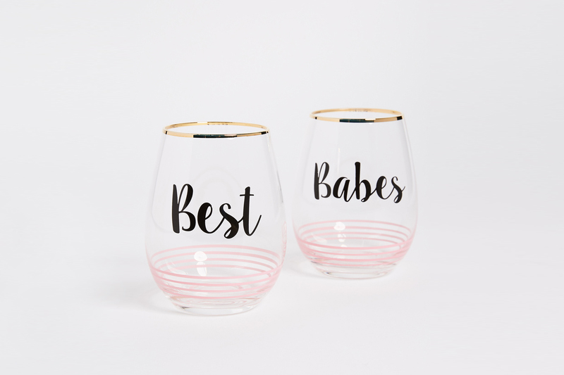 01-Best Babes Wine Glass Set of 2
