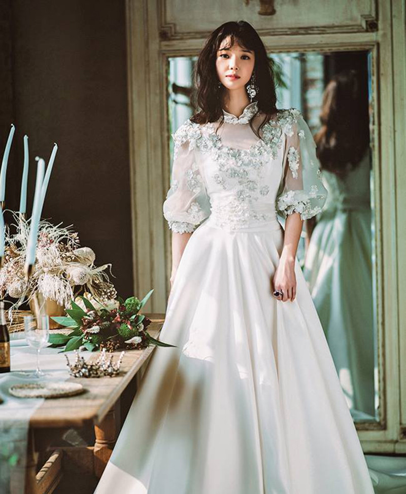 18 vintage inspired puff sleeve wedding dresses that make a timeless 02 clara wedding junglespirit Gallery