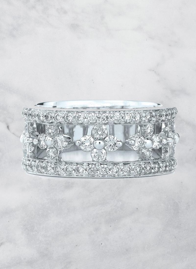 05-Jasmine Floral White Gold Diamond Ring