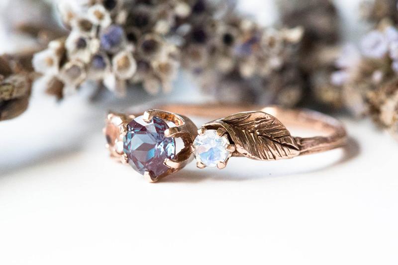 07-Chatham Alexandrite Leaf Ring