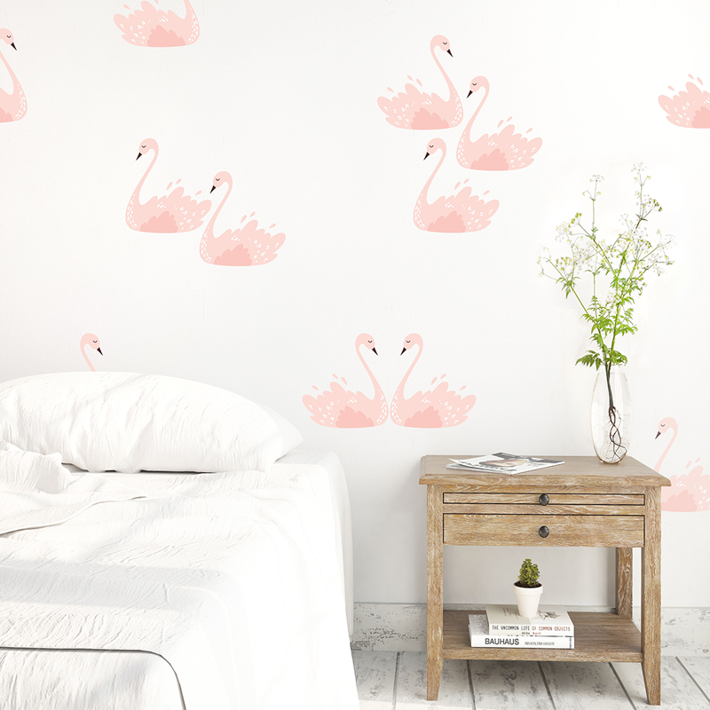 10-Pink Swans Wall Decals