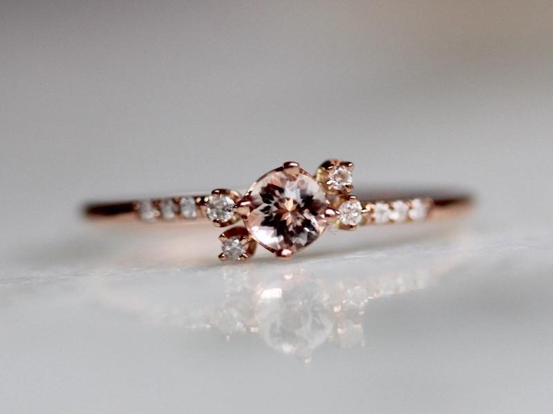 12-Morganite Cluster Pave Diamond Ring