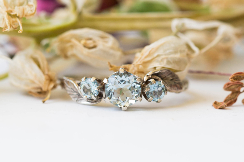 13-Aquamarine Three Stone Leaf Ring