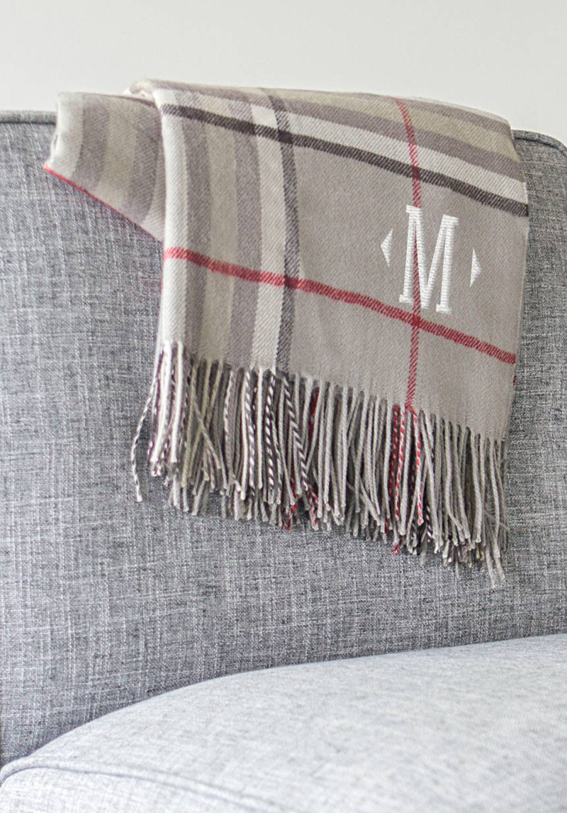 13-Monogram Plaid Throw
