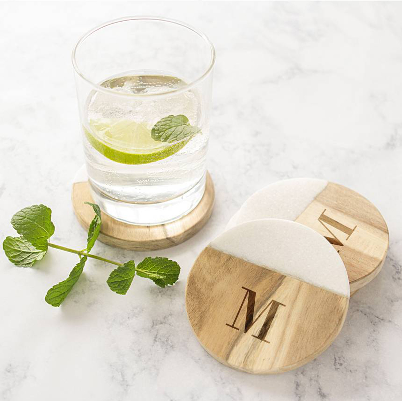 14-Monogram Marble & Acacia Wood Coasters