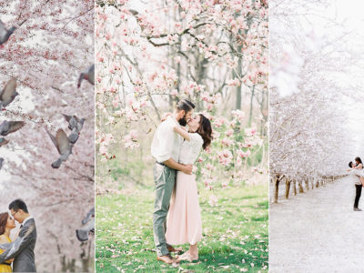 Pink Romance! 15 Incredibly Beautiful Cherry Blossom Engagement Photos!