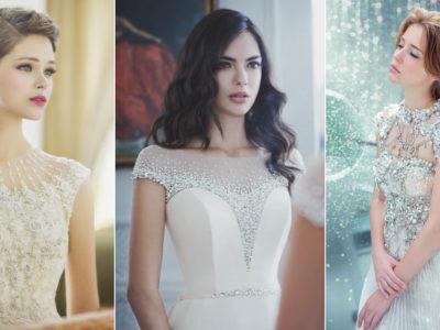 18 Stunning Wedding Dresses with Dramatic Neckline Designs!