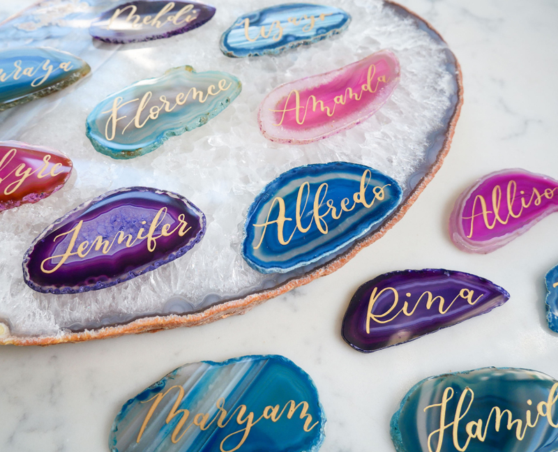 02-Colorful Agate Place Cards