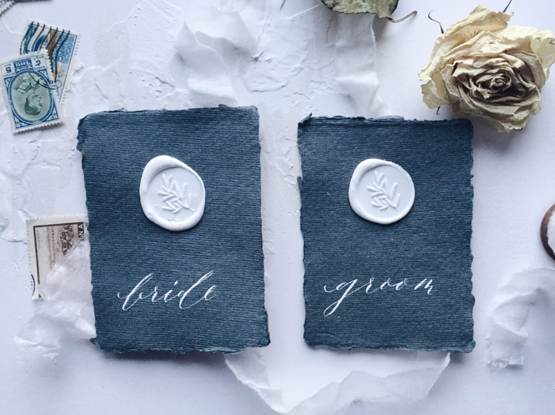07-Wax Seal Calligraphy Place Cards