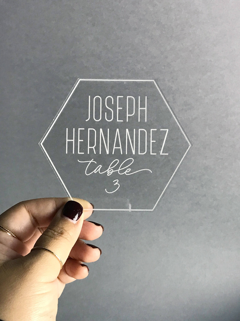 10-Engraved Clear Acrylic Geometric Cards
