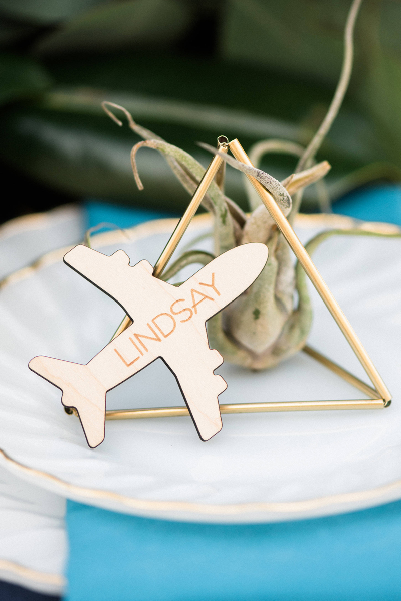15-Wooden Engraved Airplane Place Card
