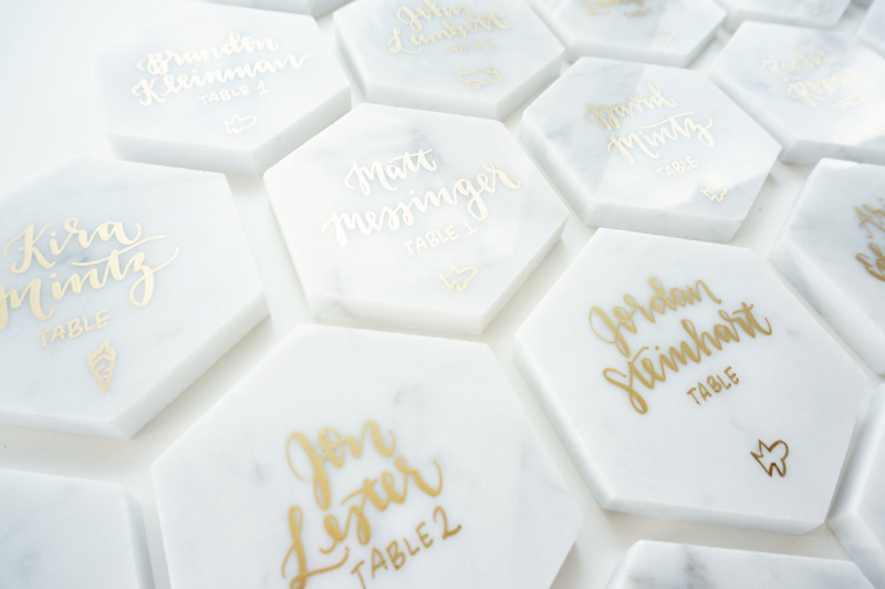16-Gold Calligraphy Marble Place Cards