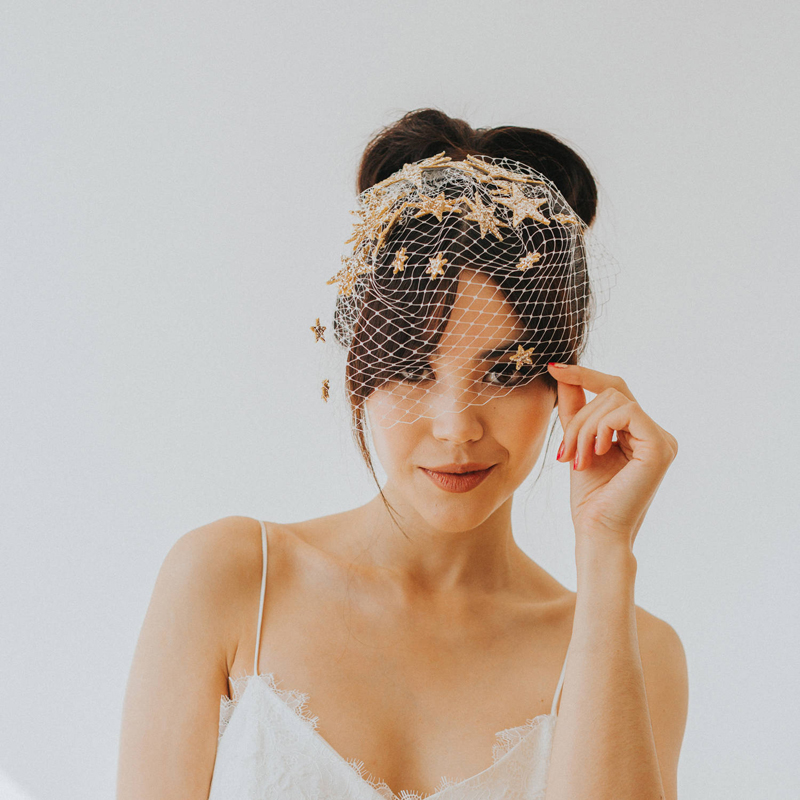 17-Starburst Glitter Birdcage Bridal Star Veil