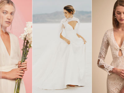 Take the Plunge! 27 Minimalist Wedding Dresses Featuring Plunging V-Neck!