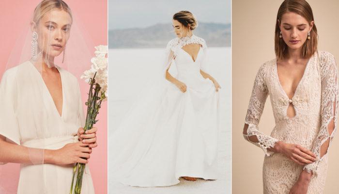 Take the Plunge! 27 Minimalist Wedding Dresses Featuring Plunging V-Neck!