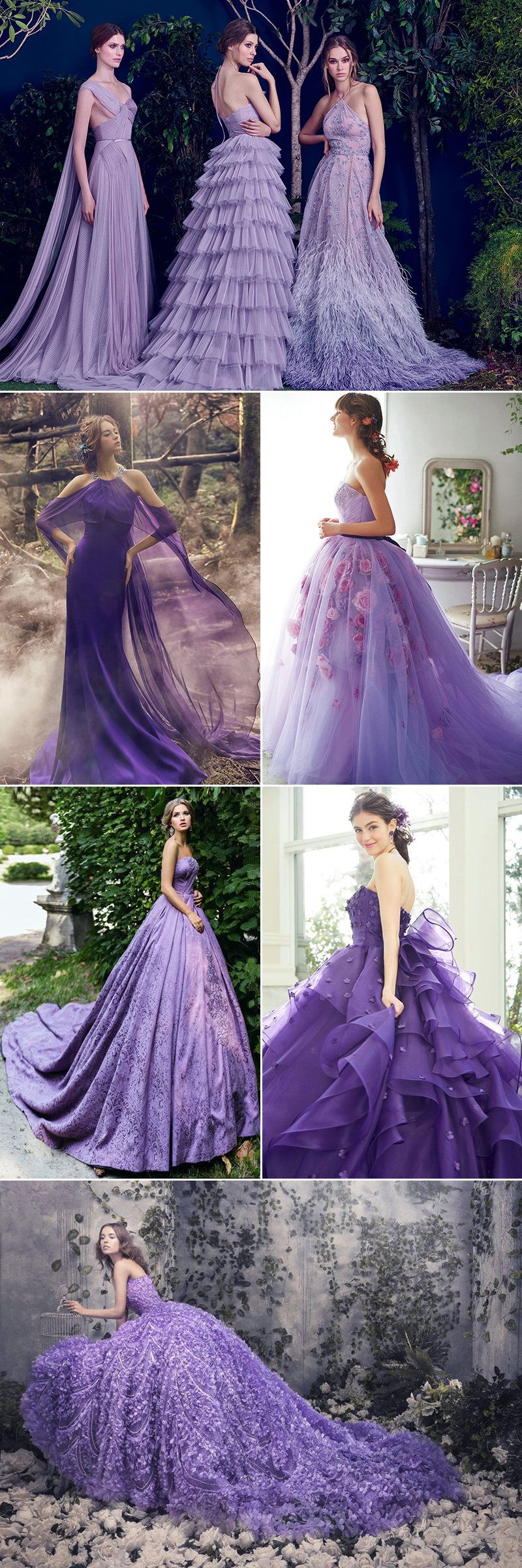 10 Beautiful Purple Wedding Gowns For Modern Romantic Brides