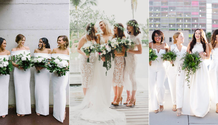 17 All-White Bridal Parties That Prove White Bridesmaid Dresses Are Here to Stay!