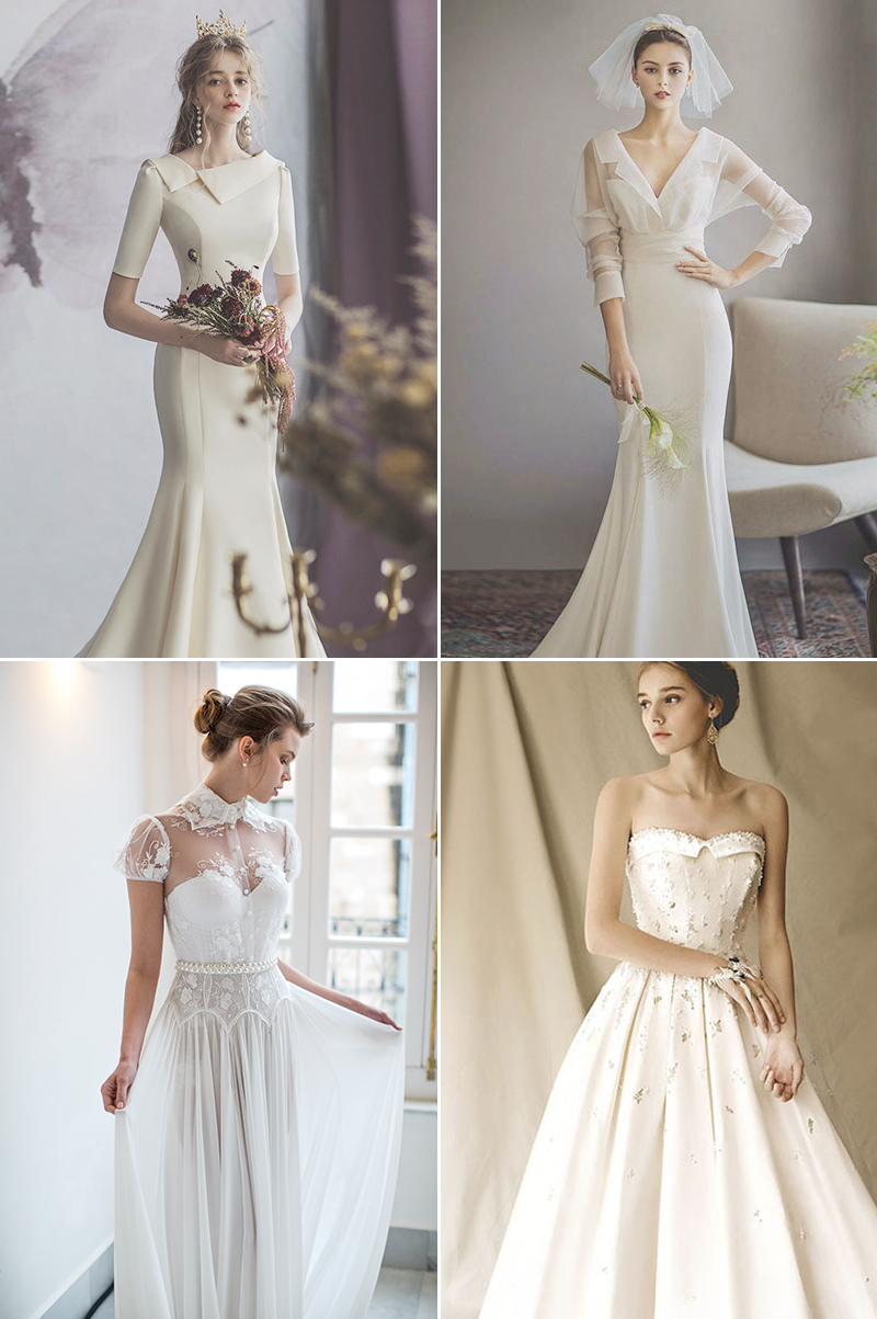 Timeless Wedding Dresses With Unique Neckline and Collar