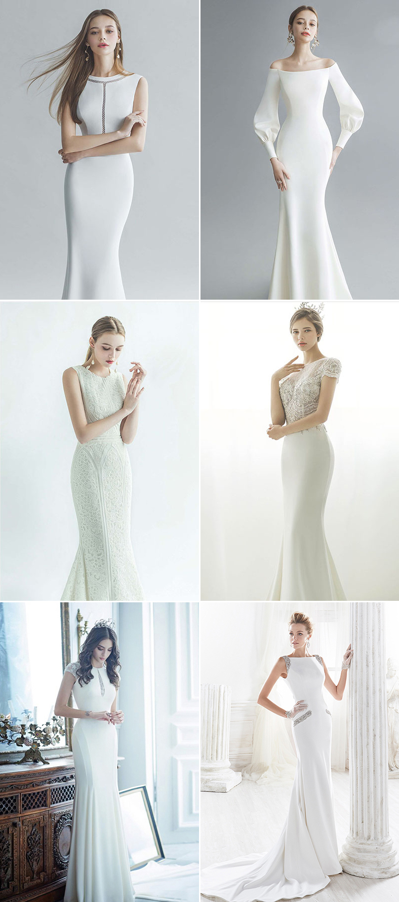 Wedding Dresses with Jewel or Bateau Neckline